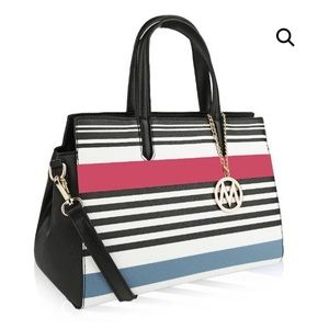 MKF Emery Satchel Multicolor Stripes Faux Leather